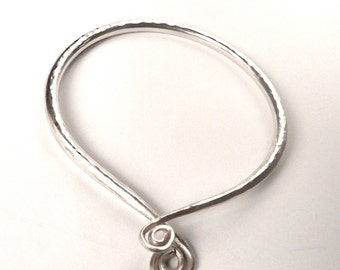 Hammered Adjustable Silver Bangle