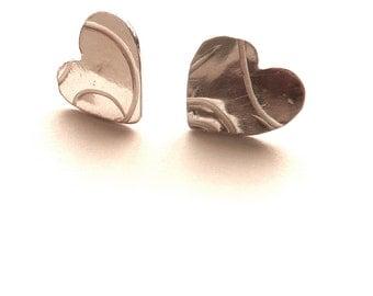 Handmade Heart Stud Earrings Textured Silver