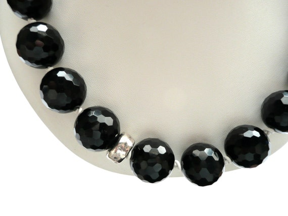 Black  Faceted Agate and Silver Necklace