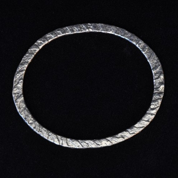 Handmade Etched Silver Bangle