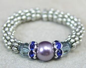 Ring, Pearl and Crystal Elastic Band, Blue and Sapphire