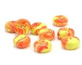 Polymer Clay Beads, Tangerine and Yellow Swirl, Disc Shape Beads, Handmade Beads