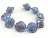 Beads, Bicone Lentil, Blue Swirl with Earth Tones, Polymer Clay