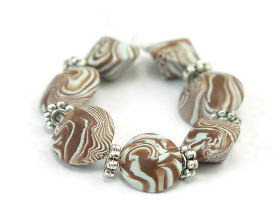 Beads, Chocolate Mint Polymer Clay, Bicone Lentil