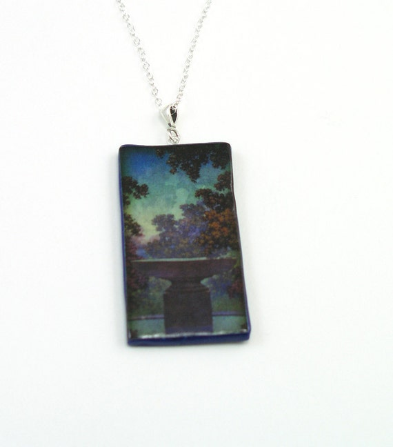 Necklace, Maxfield Parish Print with Sterling Silver Bail and Chain, Polymer Clay