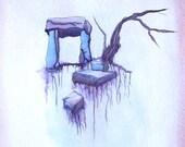 Reserved for Tony Marinara - Surreal Floating Ruins - watercolor painting