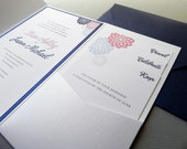 Modern Dandelion Flowers Wedding Invitation Suite for Modern Wedding, RSVP Card, 2 Insert Cards, Belly Band, Seal, plus Envelopes