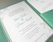 Beach Sea Shell Invitation Suite for Destination Wedding, RSVP Card, 2 Insert Cards plus Envelopes