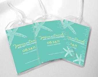 Custom Save The Date Wedding Luggage Tags - Beach Starfish for Destination Wedding