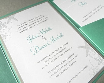 Turquoise and Silver Beach Sea Shell Invitation Pocketfold Suite for Destination Wedding - RSVP Card, 2 Insert Cards, Seal, plus Envelopes