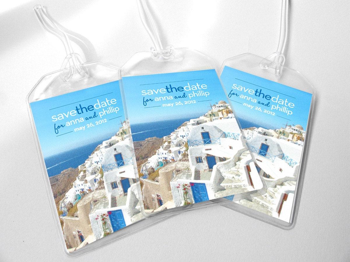 Custom Save The Date Wedding Luggage Tags Santorini Greece