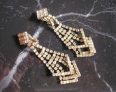 Bridal Earrings, Vintage, Rhinestone, Art Deco, Sparkly, Clip On