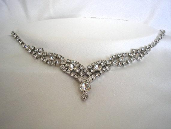 10% Off 1950's Vintage Rhinestone Bridal Wedding Necklace - Liz
