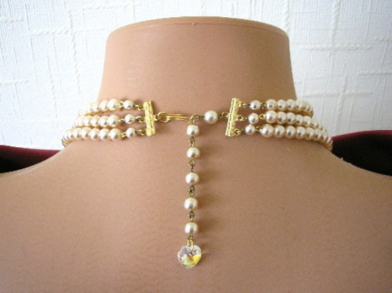 Backdrop Necklace, Bridal, Swarovski Crystal, Pearl Necklace, Wedding Jewelry, Vintage Choker