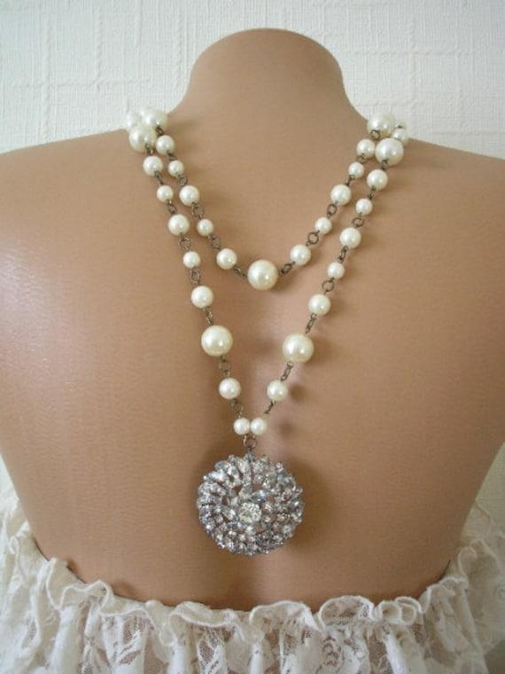 Bridal Backdrop Necklace, Wedding Jewelry, Pearl, Rhinestone, Vintage Jewellery, Reversible Necklace, Upcycled