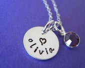 Tiny Name Disc - Hand Stamped Sterling Silver Necklace with a Birthstone