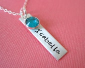 Personalized Hand Stamped Sterling Silver Necklace with a Birthstone