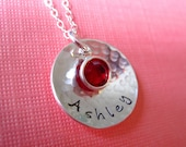 DOMED - with BIRTHSTONE in Designer Font