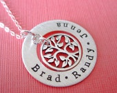 Family Tree of Life Hand Stamped Sterling Silver Necklace - ByHannahDesign