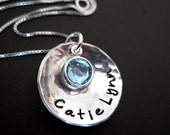 Domed with Birthstone Crystal - Hand Stamped Jewelry By Hannah Design
