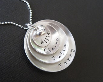 SUPER MOM Necklace -Four Layered Domed Sterling Silver Hand Stamped Necklace