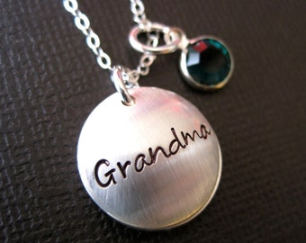 Proud Grandma Personalized Necklace - Secret Message On the Inside - Sterling Silver Hand Stamped Jewelry