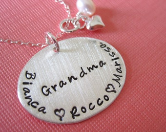 Proud Grandma Hand Stamped Sterling Silver Necklace - Hand Stamped Jewelry Perfect Gift For Mother's Day