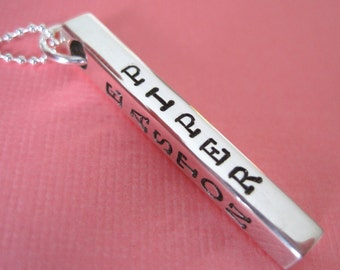Hand Stamped Jewelry - Personalized Hand Stamped Sterling Silver Solid Bar Necklace