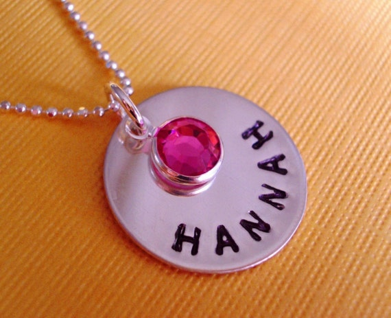Girl's Favorite - Hand Stamped Personalized Sterling Silver Necklace With Birthstone