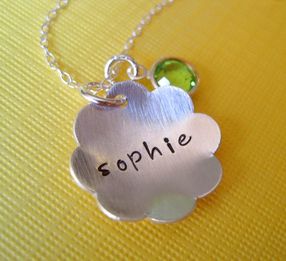 F l o w e r - Hand Stamped Sterling Silver Necklace with a Birthstone