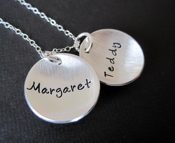 Three 1/2 inch tags - Hand Stamped Sterling Silver Necklace -