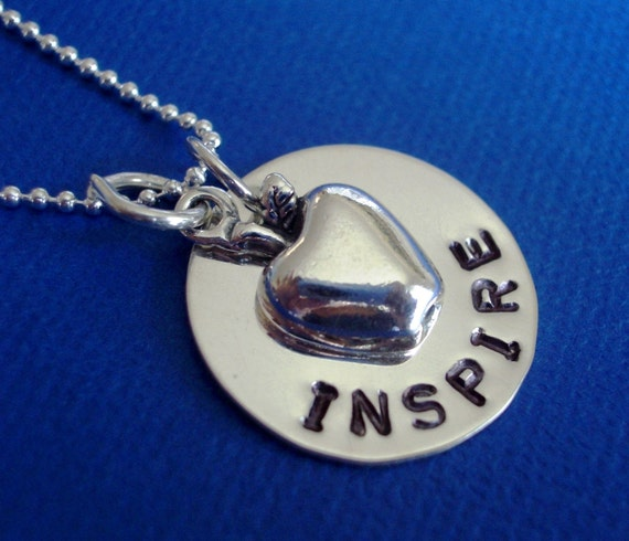 For a Wonderful Teacher - Custom Handstamped Sterling Silver Necklace with Apple Charm