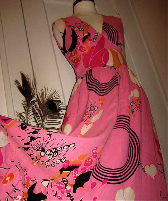 Vintage 1930s Cocktail Dress Pink  Atomic Swirl Print Ruffle Hem Bold Black Accent Deco Print