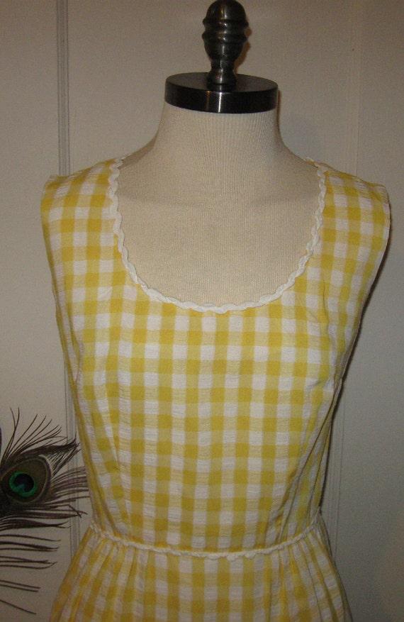 Vintage 1960s Yellow Gingham Checkered Sleeveless Summer Cotton Sun Dress by Serbin Boho Vixen Bombshell Wiggle