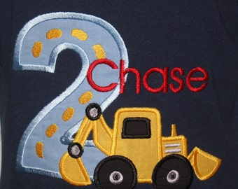 Greatstitch Digger Construction Birthday Shirt 1st Birthday 2nd Birthday 3rd Birthday