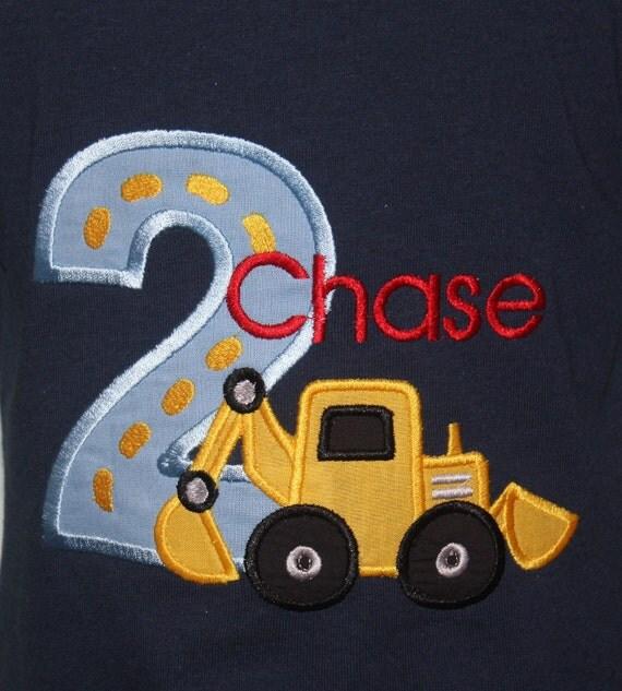 Greatstitch Digger Construction Birthday Shirt 1st Birthday 2nd Birthday 3rd Birthday