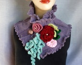 Knitted Neckwarmer / Cowl / Scarf / Collar / Scarflette in Plum heather with Colorful Flowers