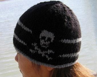 Knit hat with skulls/ Unisex hat / hand knitted skull cap with Skull Cross Bone