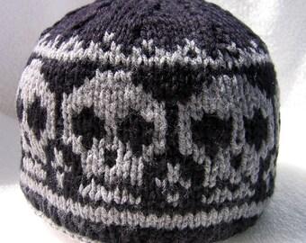 Knit skull cap,knitted skull beanie / Pirate Ahoy-Knitted Skull Hat / unisex hat/ hand knitted beanie/skull lover