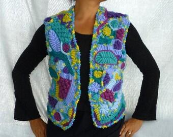 Colorful Freeform crochet Vest size S-M