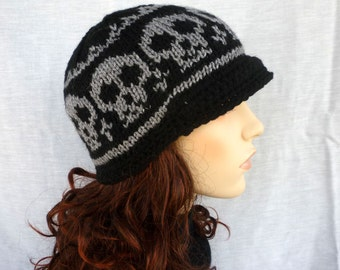 Newsboy - Knitted Skull hat for the skull lovers