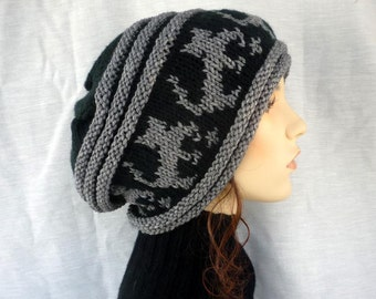 Cat Lover Alert - Slouch hat with cats in black and gray,hand knit hat, unisex hats