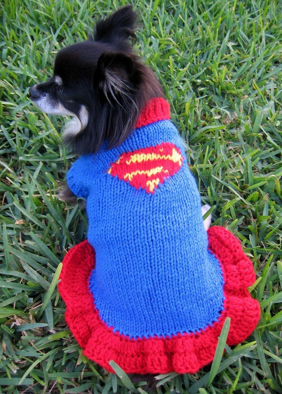 The Super Girl Knitted Dog \/ Cat Sweater Size XS
