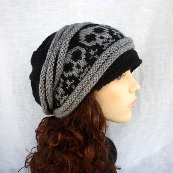 Unisex Slouch hat with skulls. Newsboy style in black and gray