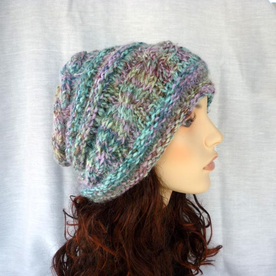 Wool Slouchy hat hand knit with multicolor tweed yarn