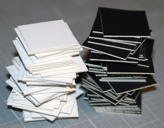 Squared Away ... 50 Mini Squares . Crescent Matboard . Black . White . Mix or All One Color . Art Supplies . Thick Cardstock
