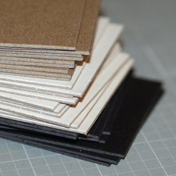 ATC / ACEO Blanks ... 30 Cards Heavyweight Chipboard Color Mix Black White Kraft Assortment Poly Sleeves Art Supplies Mixed Media Thick