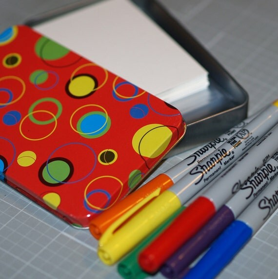 ACEO / ATC Kit ... 25 Blanks and Sleeves . Strathmore Bristol Vellum Cards . 6 Sharpie Markers . Rainbow Colors . Polka Dot Tin