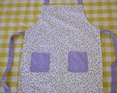 The Sophie--Lavender and White// Little Girls Apron