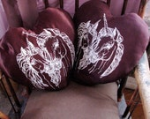 Unicorn Love - Heart-Shaped Throw Pillow